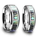 Deimos Mother of Pearl Inlaid Tungsten Couple's Matching Wedding Band Set from Vansweden Jewelers