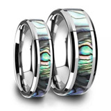 Mother of Pearl Inlaid Tungsten Couple's Matching Wedding Band Set