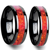 Metagenes Red Opal Inlay Black Ceramic Couple's Matching Wedding Band Set from Vansweden Jewelers
