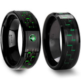 Charondas Black & Green Carbon Fiber Inlaid Black Ceramic Couple's Matching Wedding Band Set from Vansweden Jewelers