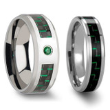 Charmidas Black & Green Carbon Fiber Inlaid Tungsten Carbide Couple's Matching Wedding Band Set from Vansweden Jewelers