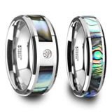 Sopatras Mother of Pearl Inlay Tungsten Couple's Matching Wedding Band Set from Vansweden Jewelers