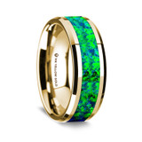 Posidonius Polished 14K Yellow Gold Wedding Band with Emerald Green & Sapphire Blue Opal Inlay from Vansweden Jewelers