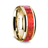 Ameipsias Polished 14K Yellow Gold Wedding Band with Red Opal Inlay from Vansweden Jewelers
