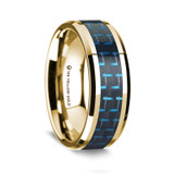 Megacles Polished 14K Yellow Gold Wedding Band with Black & Blue Carbon Fiber Inlay from Vansweden Jewelers
