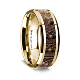 Archedicus Polished 14K Yellow Gold Wedding Band with Brown Dinosaur Bone Inlay from Vansweden Jewelers