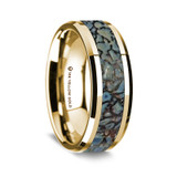 Lysis Polished 14K Yellow Gold Wedding Band with Blue Dinosaur Bone Inlay from Vansweden Jewelers