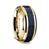 Choerilus Polished 14K Yellow Gold Wedding Band with Black & Dark Blue Carbon Fiber Inlay from Vansweden Jewelers