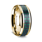 Athenais Polished 14K Yellow Gold Wedding Band with Black & Green Carbon Fiber Inlay from Vansweden Jewelers