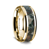 Apollonius Polished 14K Yellow Gold Wedding Band with Coprolite Inlay from Vansweden Jewelers