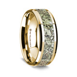 Chaeron Polished 14K Yellow Gold Wedding Band with Green Dinosaur Bone Inlay from Vansweden Jewelers