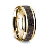 Silenus Polished 14K Yellow Gold Wedding Band with Dark Deer Antler Inlay from Vansweden Jewelers