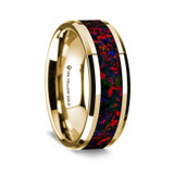 Demaratus Polished 14K Yellow Gold Wedding Band with Black & Red Opal Inlay from Vansweden Jewelers
