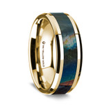 Amelesagoras Polished 14K Yellow Gold Wedding Band with Spectrolite Inlay from Vansweden Jewelers