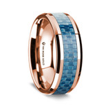 Epaminondas Polished 14K Rose Gold Wedding Band with Blue Carbon Fiber Inlay from Vansweden Jewelers