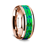 Niobe Polished 14K Rose Gold Wedding Band with Blue & Green Opal Inlay from Vansweden Jewelers