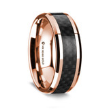 Psyche Polished 14K Rose Gold Wedding Band with Black Carbon Fiber Inlay from Vansweden Jewelers