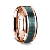 Simonides Polished 14K Rose Gold Wedding Band with Black & Green Carbon Fiber Inlay from Vansweden Jewelers