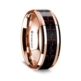Conon Polished 14K Rose Gold Wedding Band with Black & Red Carbon Fiber Inlay from Vansweden Jewelers