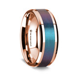 Dionysodorus Polished 14K Rose Gold Wedding Band with Blue & Purple Color Changing Inlay from Vansweden Jewelers