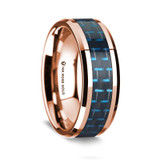 Apollodorus Polished 14K Rose Gold Wedding Band with Black & Blue Carbon Fiber Inlay from Vansweden Jewelers