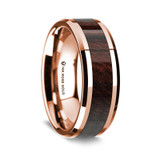 Lesches Polished 14K Rose Gold Wedding Band with Bubinga Wood Inlay from Vansweden Jewelers