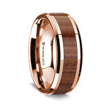 Aristomenes Polished 14K Rose Gold Wedding Band with Rosewood Inlay from Vansweden Jewelers