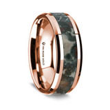 Agathinus Polished 14K Rose Gold Wedding Band with Coprolite Inlay from Vansweden Jewelers