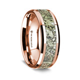Euanthius Polished 14K Rose Gold Wedding Band with Green Dinosaur Bone Inlay from Vansweden Jewelers