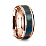 Europa Polished 14K Rose Gold Wedding Band with Spectrolite Inlay from Vansweden Jewelers