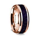 Zenodorus Polished 14K Rose Gold Wedding Band with Purple Goldstone Inlay from Vansweden Jewelers