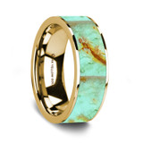 Myrsilus 14K Yellow Gold Wedding Band with Turquoise Inlay from Vansweden Jewelers