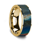 Myron 14K Yellow Gold Wedding Band with Spectrolite Inlay from Vansweden Jewelers