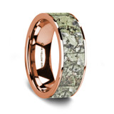 Aethlius 14K Rose Gold Wedding Band with Green Dinosaur Bone Inlay from Vansweden Jewelers