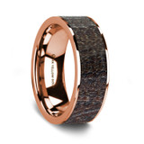 Caeneus 14K Rose Gold Wedding Band with Dark Deer Antler Inlay from Vansweden Jewelers