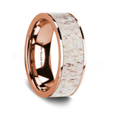 Thalia 14K Rose Gold Wedding Band with White Deer Antler Inlay from Vansweden Jewelers