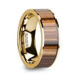 Nearchus Polished 14K Yellow Gold Wedding Band with Zebra Wood Inlay from Vansweden Jewelers