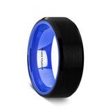 Peithias Brushed Black Titanium Ring with Vibrant Blue Interior from Vansweden Jewelers