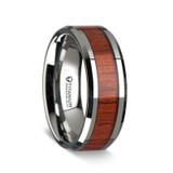 Favorinus Beveled Titanium Ring with Rosewood Inlay from Vansweden Jewelers