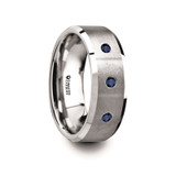 Ephorus Tungsten Satin Finished Center Polished Men's Wedding Band with 3 Blue Sapphires from Vansweden Jewelers