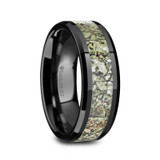 Perseus Black Ceramic Men's Wedding Band with Light Green Dinosaur Bone Inlay from Vansweden Jewelers