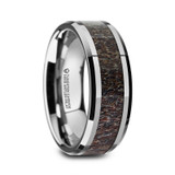 Libanius Beveled Tungsten Carbide Polished Men's Wedding Band with Dark Antler Inlay from Vansweden Jewelers
