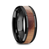 Gnathaena Black Ceramic Ring with Olive Wood Inlay from Vansweden Jewelers