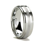 Onesilas Raised Center Tungsten Carbide Ring with Platinum Inlay from Vansweden Jewelers