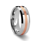 Olympias Beveled Tungsten Carbide Ring with Rose Gold Inlay from Vansweden Jewelers