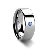 Theopompus Pipe Cut Polished Tungsten Carbide Blue Diamond Wedding Band from Vansweden Jewelers