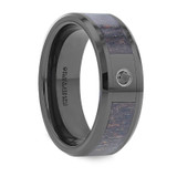 Damon Black Ceramic Wedding Band with Ombre Deer Antler Inlay & Black Diamond from Vansweden Jewelers
