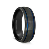 Porphyry Black Titanium Brushed Men's Wedding Band with Blue Grooves from Vansweden Jewelers