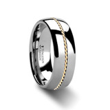 Zaleucus Domed Tungsten Carbide Ring with Braided 14k Gold Inlay from Vansweden Jewelers