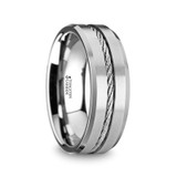 Agariste Men's Tungsten Flat Wedding Band with Steel Wire Cable Inlay & Beveled Edges from Vansweden Jewelers